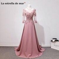 Vestidos DE madrinhas DE casamento longo 2018 new lace beads 7 sleeve a Line blush bridesmaid dresses sexy wedding party gown