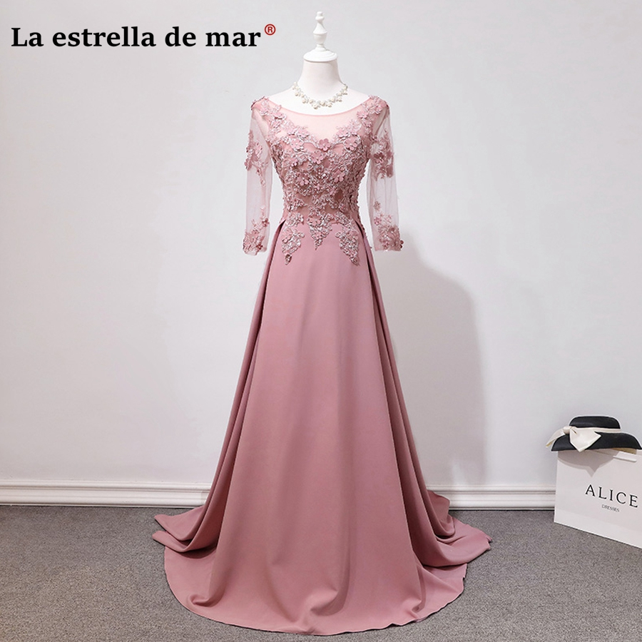 Vestidos DE madrinhas DE casamento longo 2018 new lace beads 7 sleeve a Line blush   bridesmaid     dresses   sexy wedding party gown