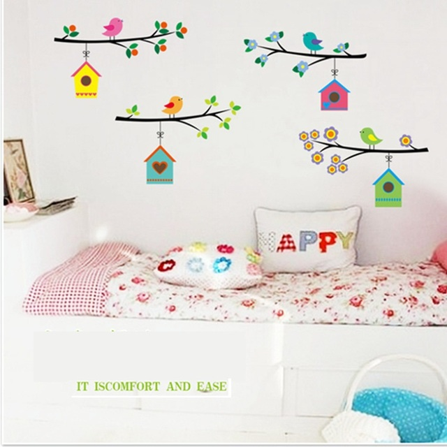 Hot bird nest stickers for wall decoration stickers for kids chart ...