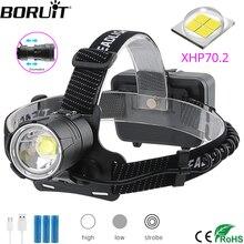 BORUiT XHP70.2 LED 강력한 헤드 램프 5000LM 3 모드 줌 헤드 라이트 캠핑 사냥을위한 충전식 18650 방수 헤드 토치