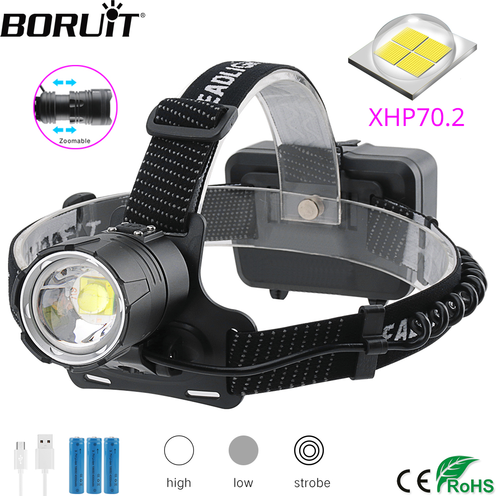 BORUiT XHP70 2 LED Powerful Headlamp 5000LM 3-Mode Zoom Headlight Rechargeable 18650 Waterproof Head Torch for Camping Hunting