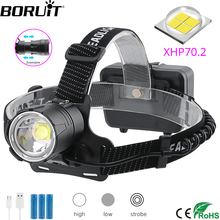BORUiT XHP70.2 LED Powerful Headlamp 5000LM 3 Mode Zoom Headlight Rechargeable 18650 Waterproof Head Torch for Camping Hunting