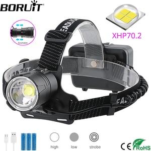 Image 1 - BORUiT XHP70.2 LED güçlü far 5000LM 3 Mode yakınlaştırma far şarj edilebilir 18650 su geçirmez baş feneri kamp avcılık için