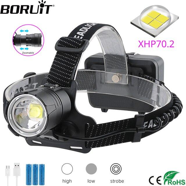 BORUiT XHP70.2 LED güçlü far 5000LM 3 Mode yakınlaştırma far şarj edilebilir 18650 su geçirmez baş feneri kamp avcılık için