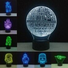 Звездные войны лампа Звезда смерти 3D ночные светильники BB-8 R2D2 Мастер Йода USB красочные светодиодные настольные лампы для спальни домашний декор подарки Luminaria