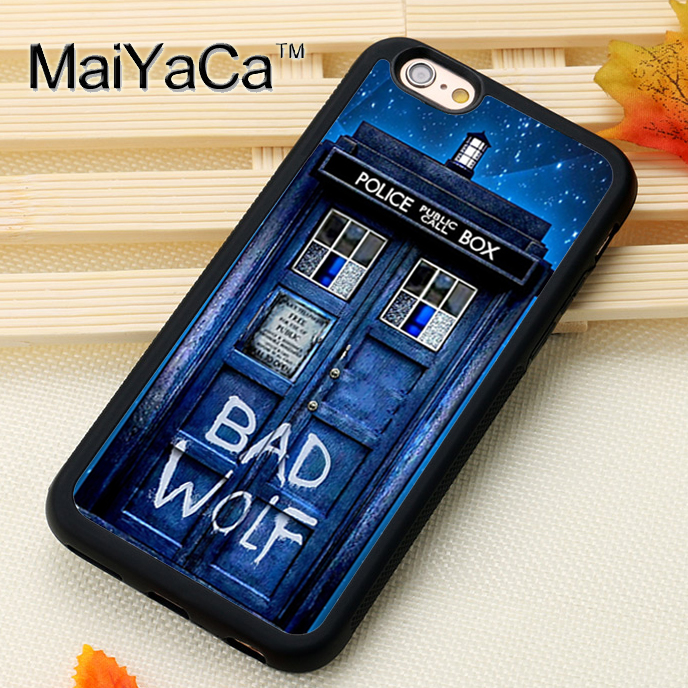 Maiyaca Tardis Doctor Dr Who Police Box Bad Wolf For Iphone 6 Iphone 6s Case Soft Rubber Phone Cases Cover For Iphone 6 6s Coque Pure Whiteness Fitted Cases