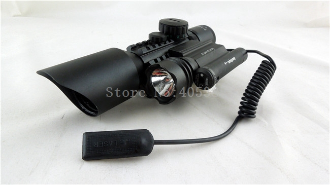 Tactical 3-10X42 M9D Rifle Scope Red Green Mil-Dot Reticle with Side Mounted Green Laser And laser Flashlight airsoft air guns compact m7 4x30 rifle scope red green mil dot reticle with side attached red laser sight tactical optics scopes riflescope