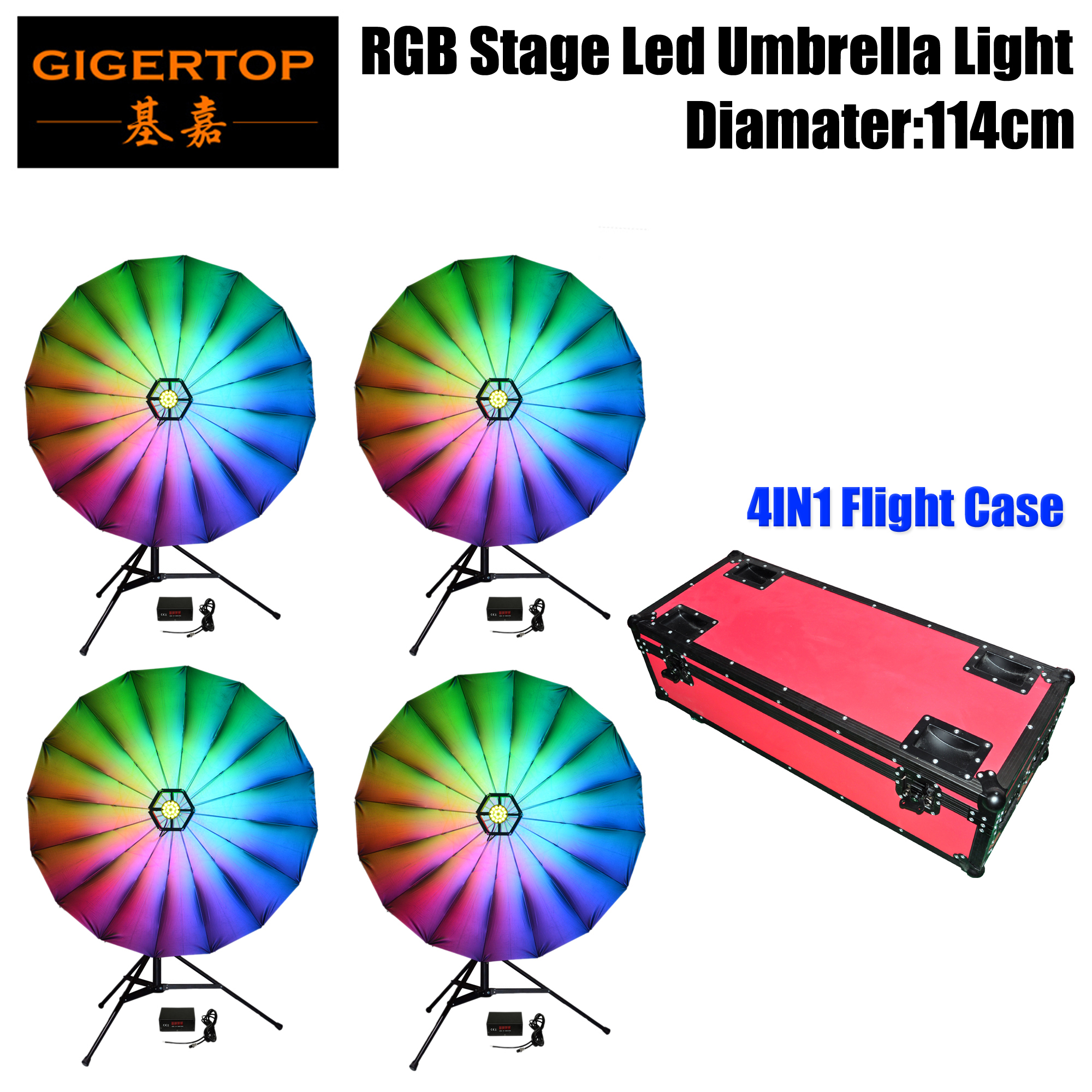 Stackable Flightcase Pack 114cm Stage Decoration RGB Umbrella Lighting Sound Activated Dance Light Stage DJ Lighting for HolidayStackable Flightcase Pack 114cm Stage Decoration RGB Umbrella Lighting Sound Activated Dance Light Stage DJ Lighting for Holiday