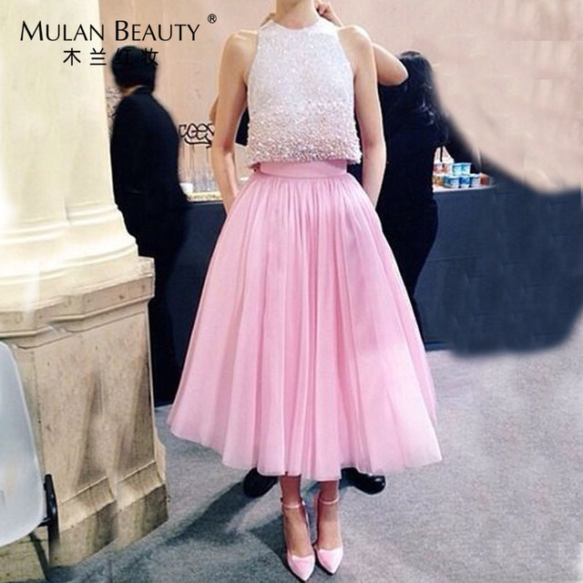 611c8a5fea478 Vintage 70 cm Rose 5 couches Femmes Tutu Tulle Jupe Midi Faldas Cortas De  Mariage de