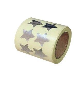 Wootile  Sticker Silver Star Shape Stickers - 3/4 Inch 500 Per Roll Shiny Metallic Foil Teacher Supplies (Silver)