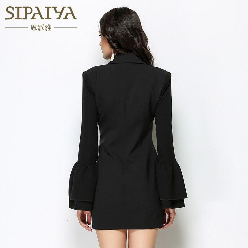 Bureau Extérieur blanc Designer Veste Blazer De Mode Noir V Dames Nouvelle Femmes Piste Formelle Poitrine Coréen Unique Col 2017 HqIaZWUw8