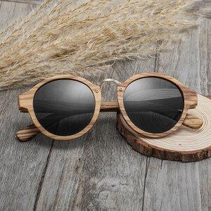 Image 4 - 2020 새로운 브랜드 얼룩말 나무 선글라스 남자 여자 레트로 라운드 태양 안경 편광 된 렌즈 UV400 케이스
