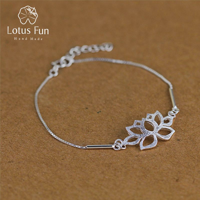 Lotus Fun Real 925 Sterling Silver Handmade Designer Fine Jewelry Vintage Classic Hollow out Lotus Flower Bracelet for Women vintage hollow out flower anklet for women