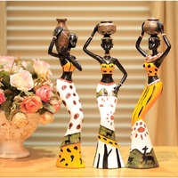 resin folk art love 3 African girls home decor resin figurine folk art Home decoration love Africa figurine