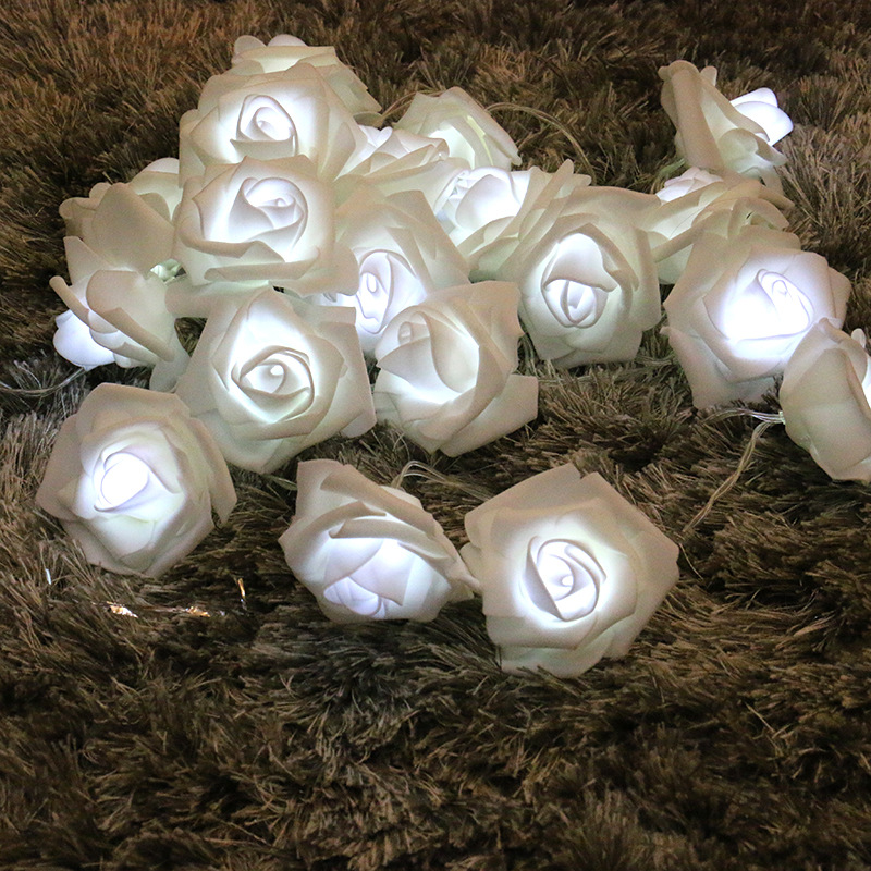 Lovely 2M 20 LED Rose Flower Fairy String Night Lamp Wedding Party Garden Valentines Day Decor Battery Operated House Light