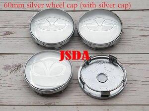 Image 5 - 4pcs 56mm 60mm Daewoo logo Car Wheel Center Cap auto rim refit Badge covers dust proof emblem sticker styling