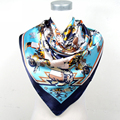 2016 New Arrival Women Polyester Silk Scarf Printed Fashion 90*90cm Brand Satin Square Scarves For Ladies Blue Pink Brown Red