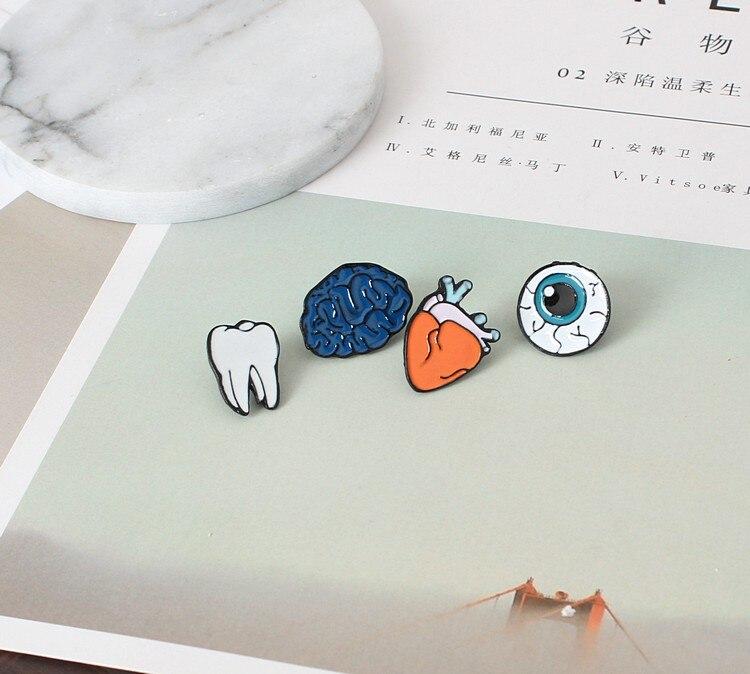 1 шт. цинковый сплав, эмаль глаз зубы мозга сердце Броши Шпильки человека Средства ухода за кожей органов для женщин ювелирные изделия иглы б...