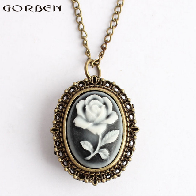 Beautiful rose fashion design women quartz pocket watch retro exquisite oval Gor