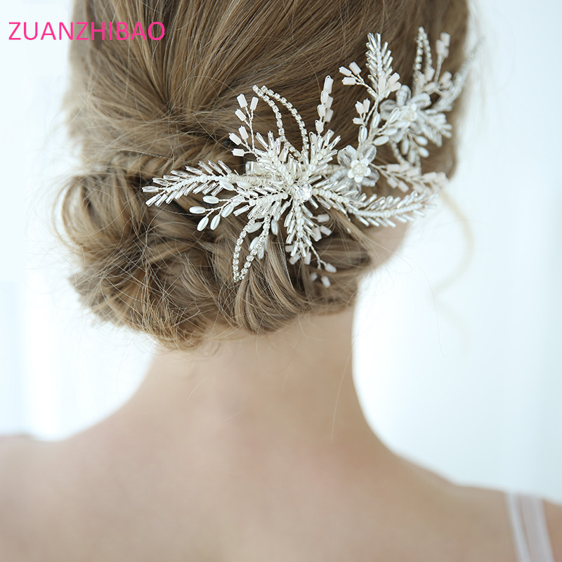 2019 luxe à la main feuille fleur mariée cheveux accessoires cristal strass perles de mariage épingles à cheveux Barrettes mariée cheveux peigne