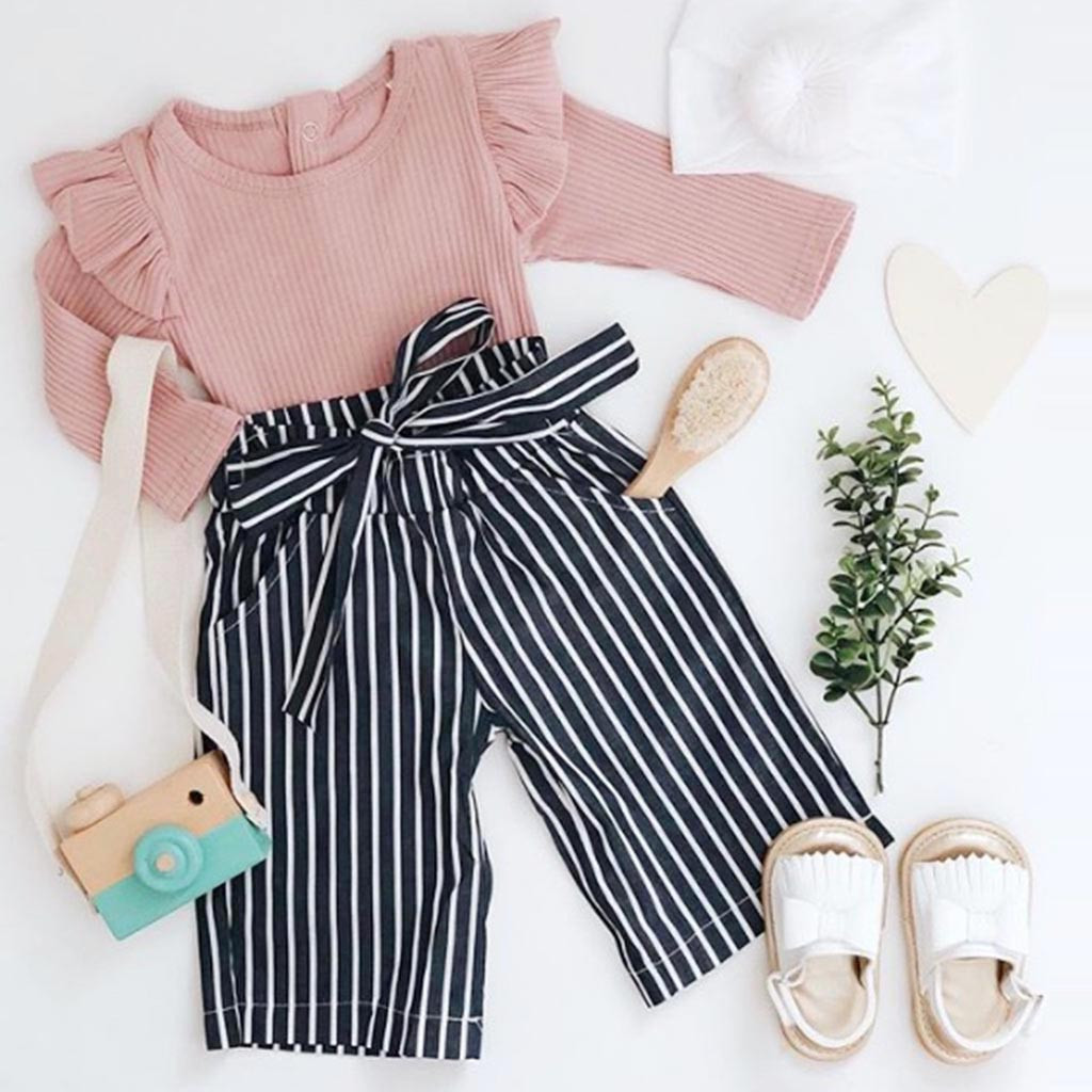 Autumn Spring New Fashion Newborn Kids Baby Girls Outfits Clothes Solid Long Sleeve Bodysuit+Stripe Sashes Long Pants Set Z4
