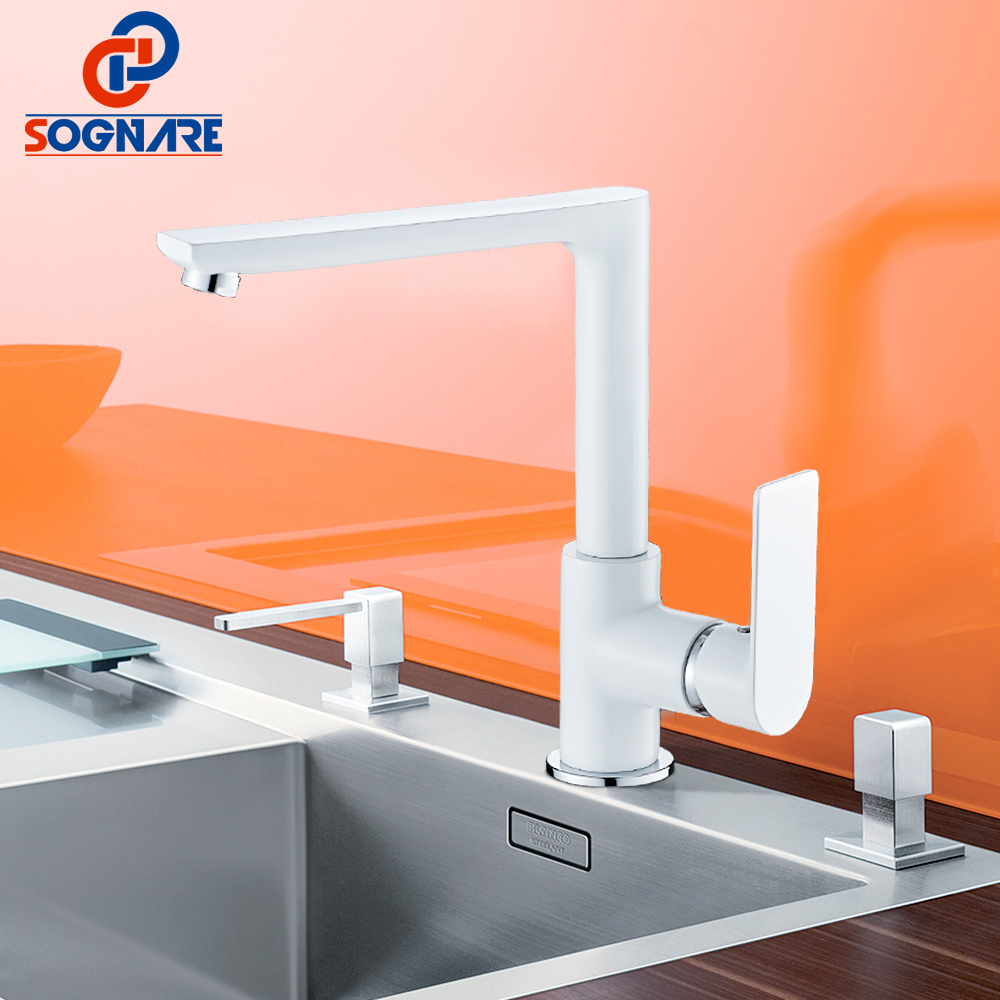 SOGNARE Water Saver White Painting Kitchen Mixer Single Handle Kitchen Sink Faucet Cold Hot Kitchen Mixer