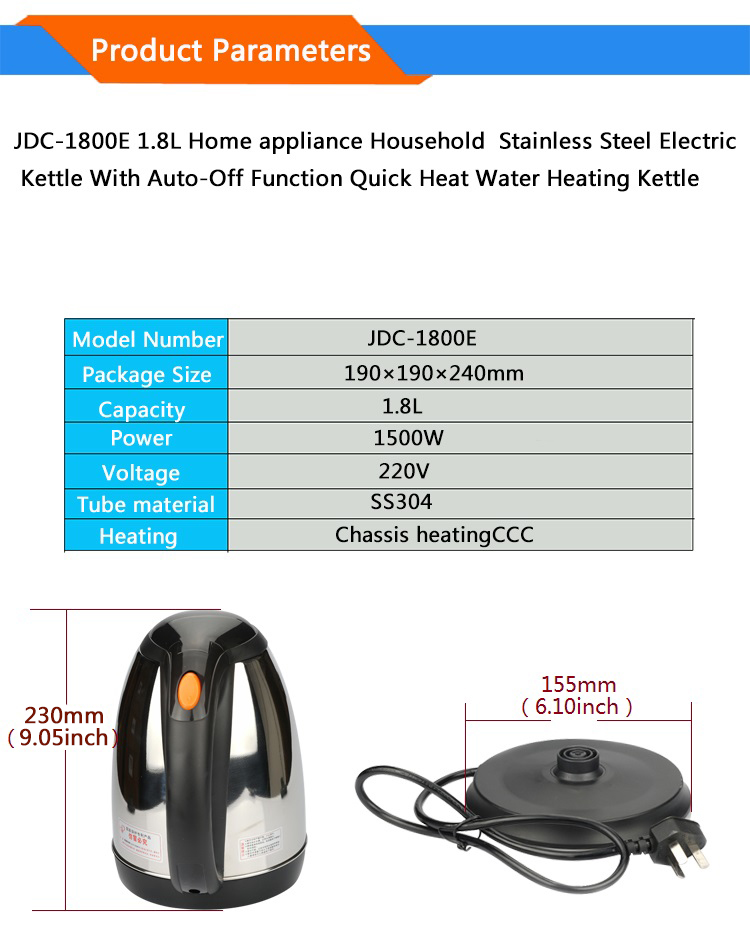 HTB1Gfw2kcj B1NjSZFHq6yDWpXaf - 1800E 1.8L Home appliance Household  SUS304 Electric Kettle With Auto-Off Function Quick Heat Water Heating Kettle 1500W 220V