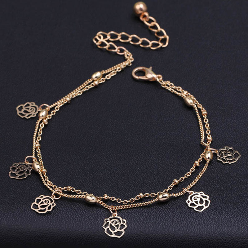hollow rows flower anklet chain