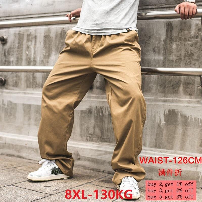Men's Safari Pants 8XL Pocket Pants Trousers Autumn Outdoor Leisure Large Size Large Size 6XL Stretch Straight Pants Elastic