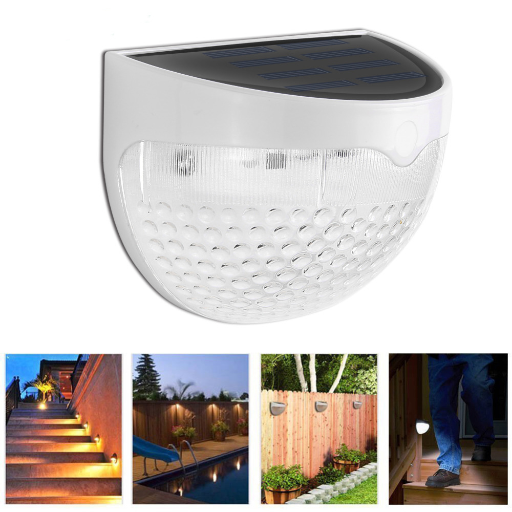 6 LED Solar Led Wall Lamp Light Sensor Auto ON/OFF Waterproof Cool White Warm White for Stair Outdoor Post Garden Fence Yard fghgf 2018 light sensor 6 led wall light outdoor garden fence ip55 waterproof lamp automatically light gutter fence warm white