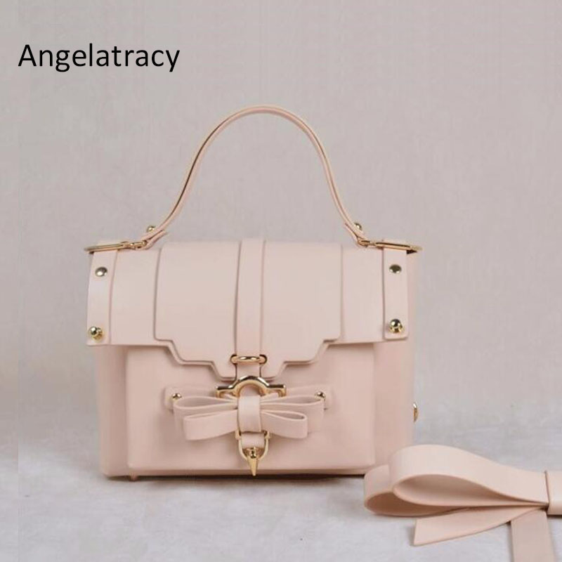 Angelatracy 2018 European Style Cute Fashion Office Lady OL Solid Bow Women Muti-function White  Crossbody Messenger Bag Totes