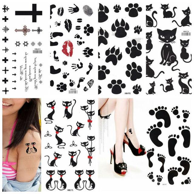 52066a8f4 King Horse cute footprint butterflies cats Waterproof tattoo 17X10CM Arm  Tattoo Sleeve Flash Temporary Tattoo Sticker