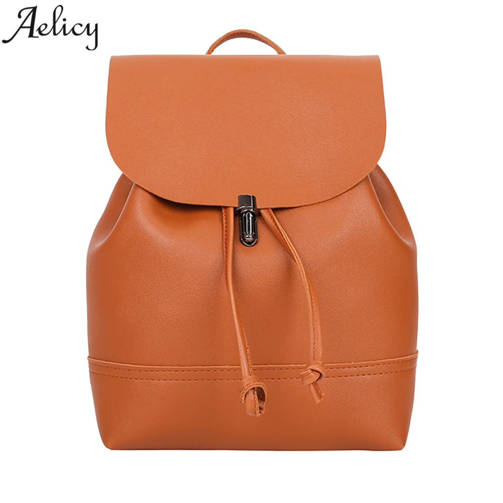 Aelicy 2018 NEW Vintage Pure Color fashion backpack women backpack Leather school bag women Casual style mochila masculina