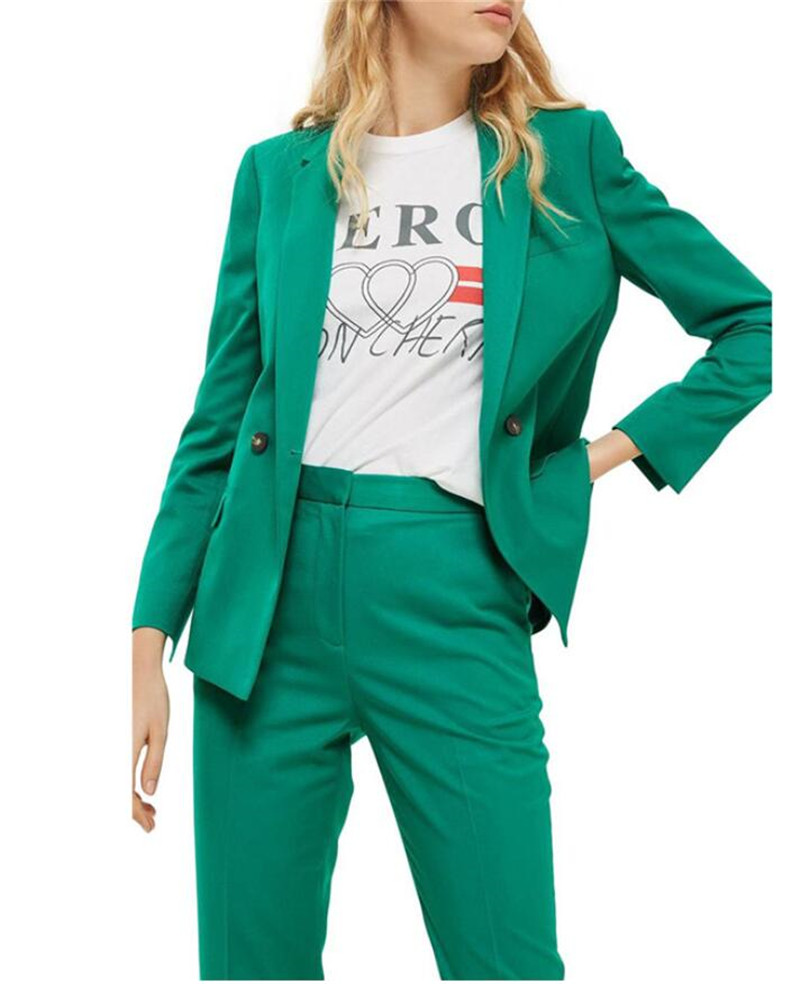 Green Women Business Pantsuits Female Office Uniform Formal Pant Suits for Weddings Ladies Trouser Suit Jacket
