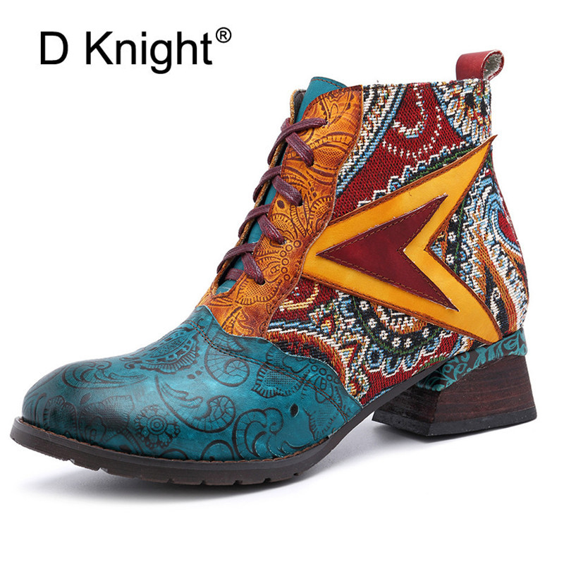 Retro Embroidery Star Genuine Leather Boots Women Western Cowboy Ankle Boots Zipper/Lace up Winter 2019 Women Shoes Plus Size 42Retro Embroidery Star Genuine Leather Boots Women Western Cowboy Ankle Boots Zipper/Lace up Winter 2019 Women Shoes Plus Size 42
