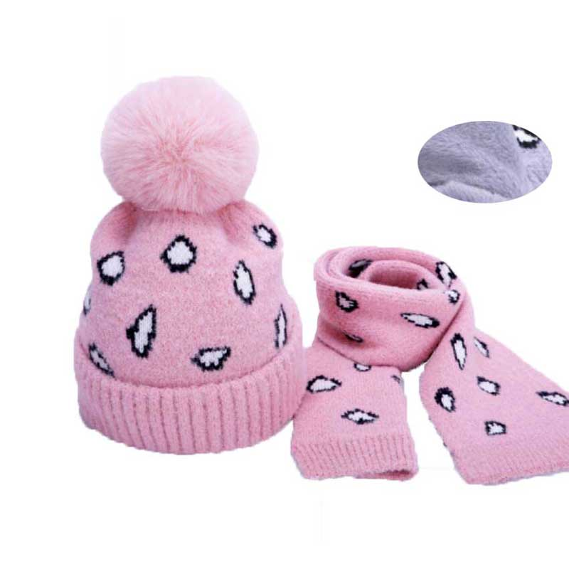 Winter Hat And Scarf Set For Children Girls Kids Knitted Pompom Hat Scarves Boys Print Beanie Cap Warm Fashion 2 Pcs Suit M7094