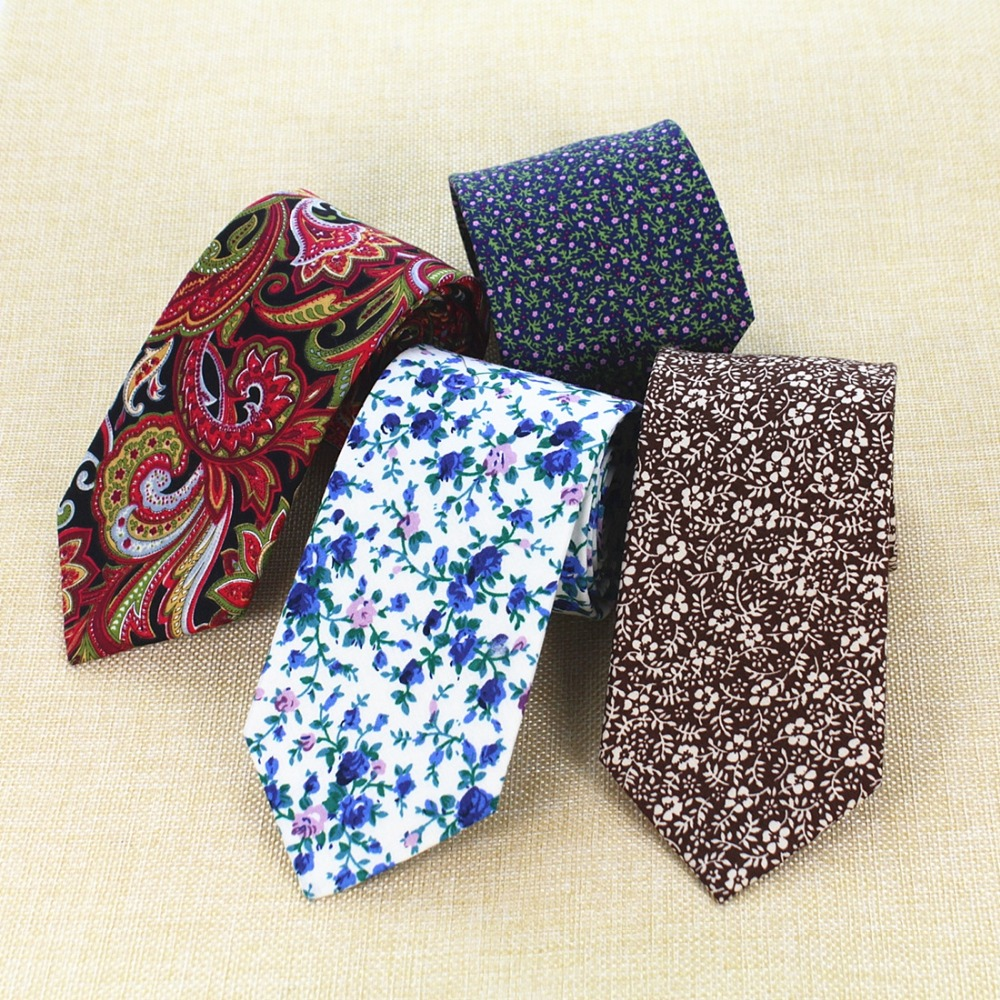 RBOCOTT 8cm Width Tie Fashion Cotton Ties Classic Floral Ties For Men Women Formal Suit Business Wedding Party Neck Ties
