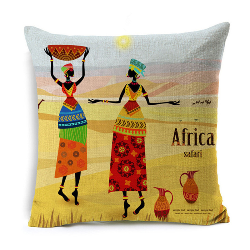 Wholesale Maiyubo African Tribal Cushion Cover Cotton Linen Africa Original Women Life Pillow Case Chair Pillow Covers