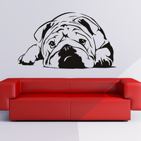 UK Bulldog Wall Sticker Dog Wall Decal Art Removable Pet Pug Animal Decals Vinyl Mural Home Decor Wall Sticker Puppy 57*33CM