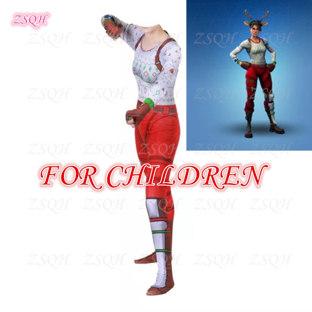 ZSQH Fortnight Season 8 Red-nosed Raider Jumpsuit Fortnited Battle Royale Cosplay Costume Fortress Night For Kids Bodysuit