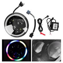 7 дюймов водонепроницаемый мотоцикл RGB светодиодный круглые фары луч проектор 50 Вт DC 12 В мотоцикл налобный фонарь