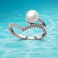 Nueva Bohemia perla anillo de moda femenina anillo del encanto de la perla de la joyería pinzas de la venta de alibaba velocidad mundial. regalo de Las Mujeres 925 joyería de plata