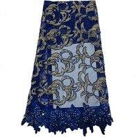 Dp15-2the azul real francés alta calidad vestido en línea la tela neta del cordón, tela africana del cordón con piedras