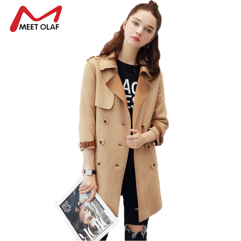 Womens   Suede   Jacket New Fashion Long   Suede     Leather   Trench Coats Casual Female Double Breasted Windbreaker jaqueta de couro Y1099