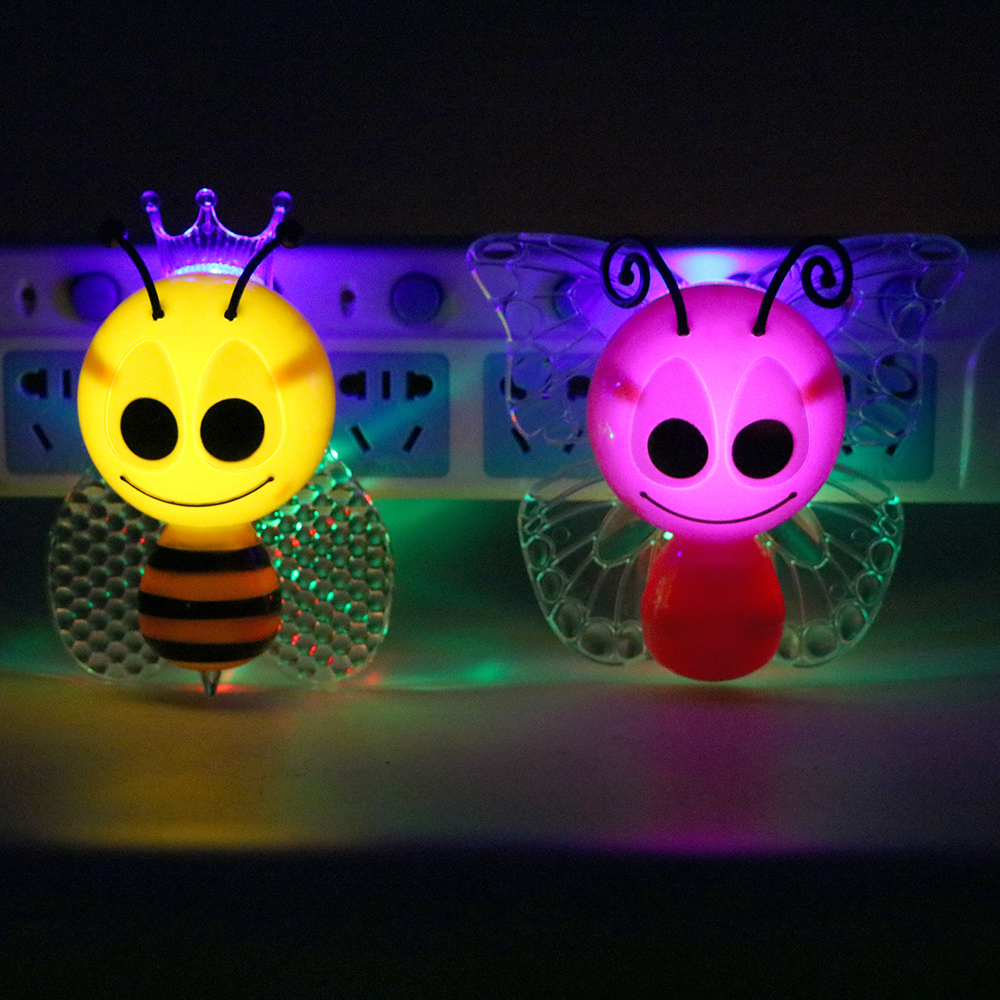 ITimo LED Bee Night Light For Baby Children Lamp Colorful Butterfly Lovely Animal Night Light Home Decoration EU Plug