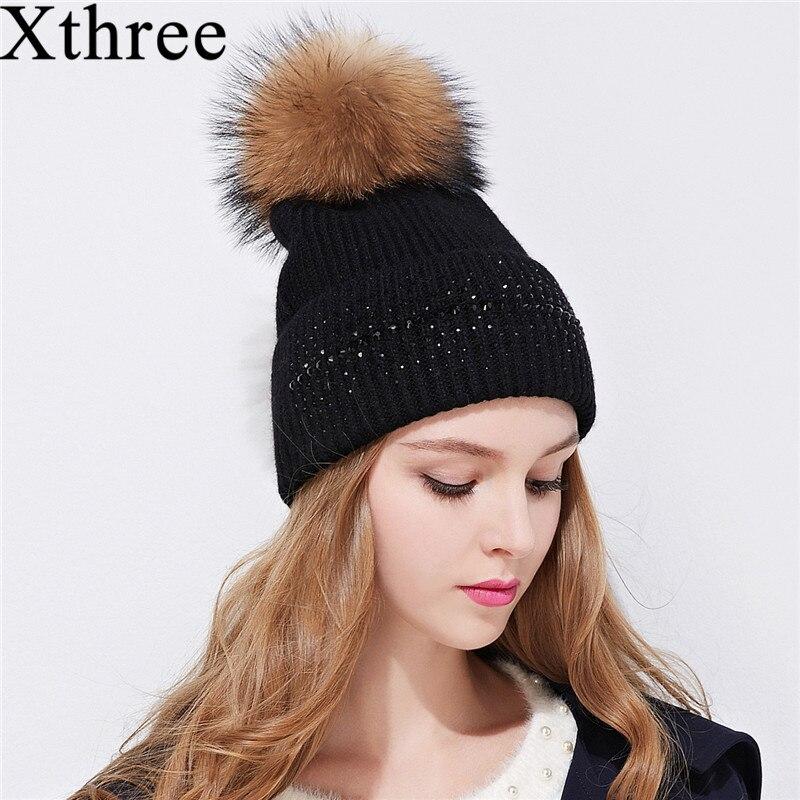Xthree zimní čepice pro ženy, skutečný norek, kožešiny, poms, vlny, pletená dívčí čepice, zbrusu nová tlustá dámská čepice