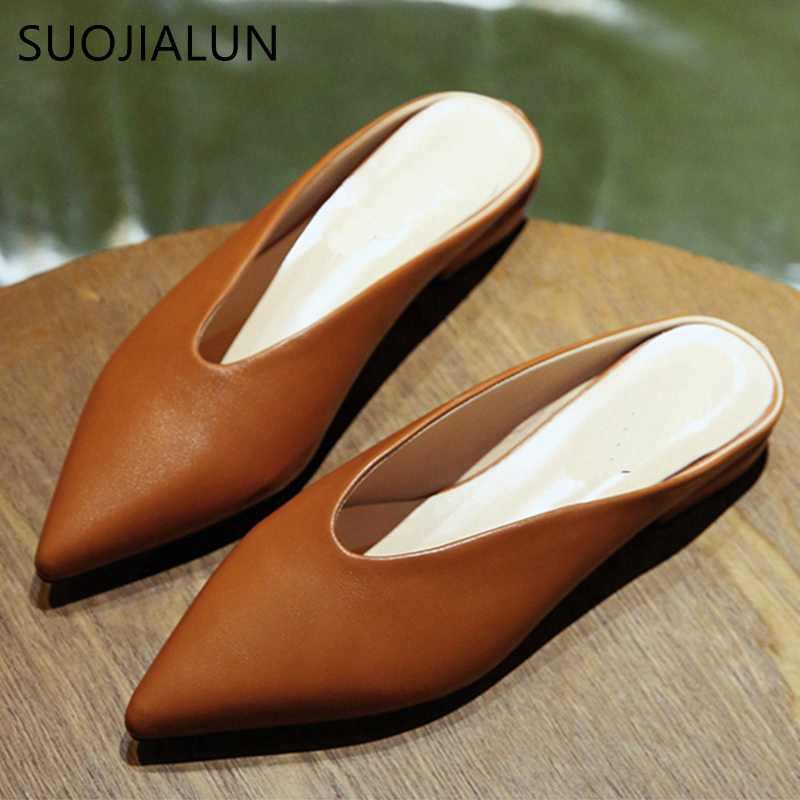 Suojialun Damens Flat Schuhes 2018 Fashion Mules For Damens Pu Leder Pointed Toe S
