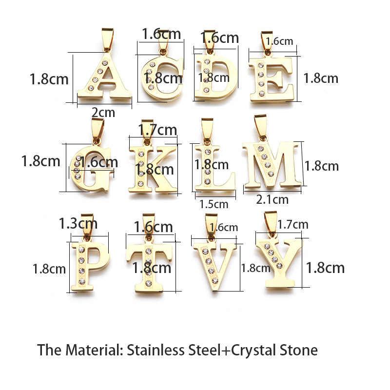 Nova Carta de Aço Inoxidável Colares Pingente de Ouro Cor Alfabet Inicial Colar de Cadeia de Jóias De Cristal Mulheres Kolye Collier
