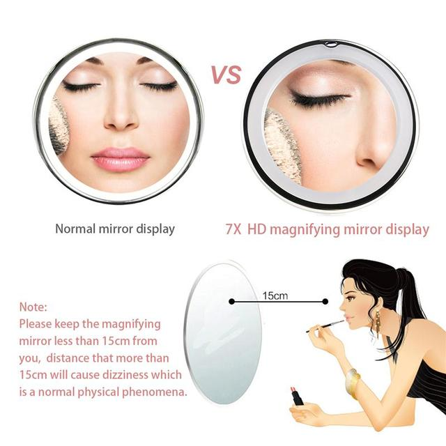 RUIMIO 7X Magnifying Makeup Mirror Cosmetic LED Locking Suction Cup Bright Diffused Light 360 Degree Rotating Cosmetic Makeup