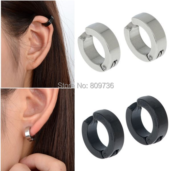 Chic 1pair Mens Stainless Steel Ear Cuff Hoop Non Piercing Clip On Earrings Punk Hot Black